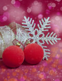 Red New Year's balls and ribbon Stock Photography