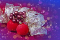 Red New Year's balls and ribbon Royalty Free Stock Images