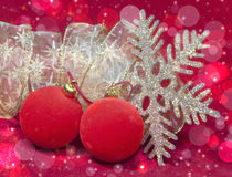 Red New Year's balls and ribbon Stock Image