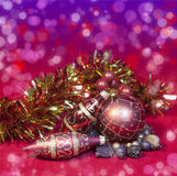 Red New Year's balls and ribbon Royalty Free Stock Photo