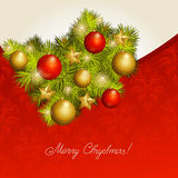 Red new Year's card. Red background with a New Year tree. A vector Stock Photography