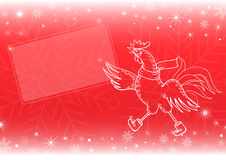 Red New Year`s and Christmas background with rooster Stock Image