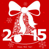 Red New Year's hand bell from snowflakes. Vector illustration Royalty Free Stock Photography