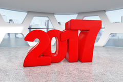 Red New 2017 Year Sign in Abstract Bright Office Meeting Room. 3. Red New 2017 Year Sign in Abstract Bright Office Meeting Room extreme closeup. 3d Rendering Stock Photos