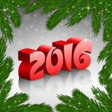 Red New Year 2016 and X-mas tree frame Royalty Free Stock Photos