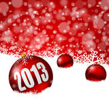 Red new years background. With snowflakes and christmas balls vector illustration
