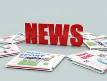 Red news logo. Sorrounded by newspaper -digital artwork Royalty Free Stock Images