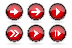 Red Next buttons with chrome frame. Round glass shiny 3d icons with arrows. Vector illustration isolated on white background Stock Images