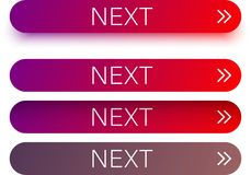 Red next web buttons with arrow isolated on white. Red and purple spectrum next web buttons with arrow isolated on white background. Vector illustration Stock Images