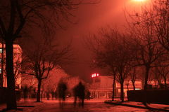 Red night. Red lights under the nightlife Royalty Free Stock Images