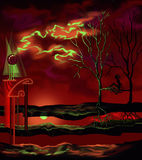 Red night. With green clouds Stock Images