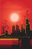 Red night vector. It is a modern city site in a  sun set Stock Photography