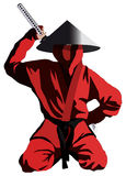 Red Ninja. Ninja in the red uniform, isolated on white, vector illustration Royalty Free Stock Image