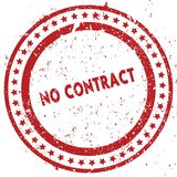 Red NO CONTRACT distressed rubber stamp with grunge texture. Illustration Stock Photography
