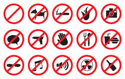 Red No Signs and Anti- Symbols for Prohibited Activities royalty free stock photography
