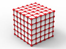 Red nodes - cube network structure. 3D render illustration of red nodes cube network structure. The composition is isolated on a white background with shadows Stock Photography