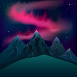 Red northern lights over mountains realistic vector night. Stock Photos