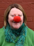 Red nose. Portrait of woman with red nose Stock Photography