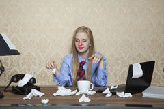 Red nose from colds. Business woman Royalty Free Stock Images