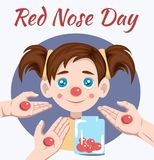 Red nose day. Of red nose day campaign where people do funny things to raise money for charity Stock Image