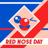 Red Nose Day vector illustration. Abstract cute face on noetic geometric background.  Royalty Free Stock Photos