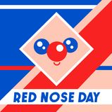 Red Nose Day vector illustration. Abstract cute face on noetic geometric background.  Stock Photography