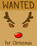 Red Nose Reindeer Wanted For Christmas Poster Stock Photography