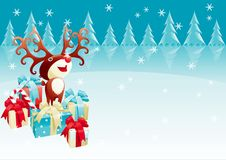 Red-Nosed Reindeer. Vector  Christmas background with Red-Nosed reindeer and many gifts and presents Stock Images