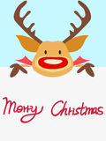 Red nosed reindeer christmas card with handwritten words. For celebrating Christmas Royalty Free Stock Photo