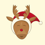 Red nosed reindeer. Xmas illustration of a red nosed reindeer Stock Photos