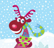 Red-nosed Rudolph on snow Stock Photo