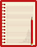 Red notebook. Christmas notebook with red pencil Royalty Free Stock Photo