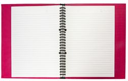 Red Notebook. Blank paper of red notebook  tired with black wire Royalty Free Stock Images