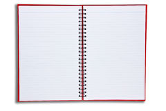 Red notebook open two page. Isolate on white background Royalty Free Stock Photos