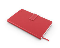Red notebook over white. 3d render image Royalty Free Stock Images