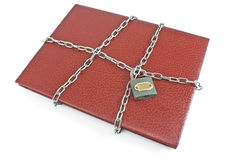 Red notebook with padlock and chain Stock Photos