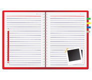 Red notebook and Photo frame Royalty Free Stock Photo