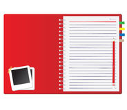 Red notebook and Photo frame. Pencil Vector Illustration