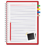 Red notebook and Photo frame Stock Photography