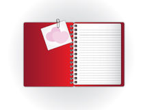 Red notebook and sweet card Stock Photography
