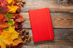 Red Notepad on old wooden table. Mixed maple autumn leaves and acorns next to a closed notebook.  Royalty Free Stock Photography