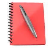 Red notepad with pen Royalty Free Stock Photo