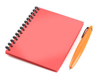 Red notepad with pen Royalty Free Stock Image