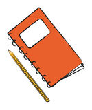 Red notepad with pencil Royalty Free Stock Image