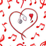 Red notes earphones hearts love music seamless pattern vector Stock Photography