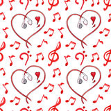 Red notes earphones hearts love music seamless pattern vector Royalty Free Stock Photos