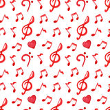 Red notes treble bass clef love music seamless pattern vector Royalty Free Stock Photography