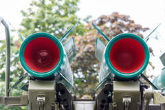 Red nozzle air defense missiles Stock Image