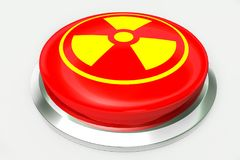 Red nuclear alert button and sign for danger isolated on white background. 3D illustrations. Danger sign concept image Royalty Free Stock Photos