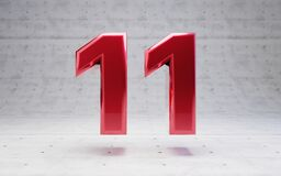 Free Red Number 11. Metallic Red Color Digit Isolated On Concrete Background Stock Photography - 173600932